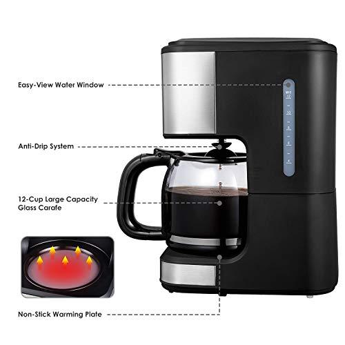 cafetera programable con jarra de vidrio negra